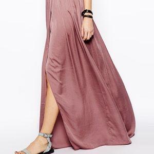 Asos Tall Satin Wrap Maxi Skirt